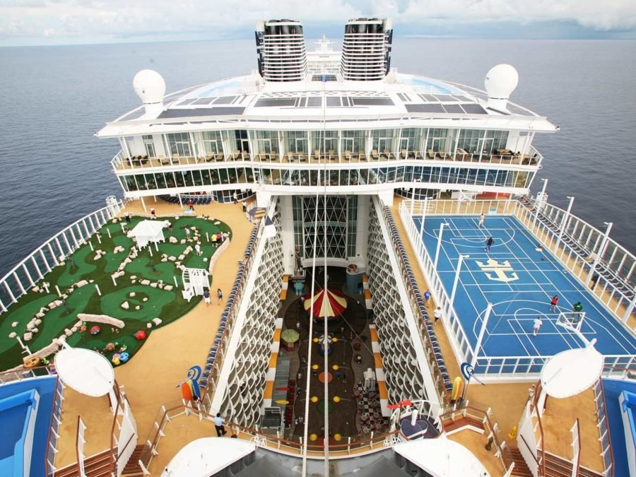 The launch of Royal Caribbean International's Oasis of the Seas, the worlds largest cruise ship. View from Galley funnel showing golf and basket ball pitch.